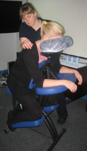 Lindsey Briscoe enjoying Seated Massage from Hayley Drakes